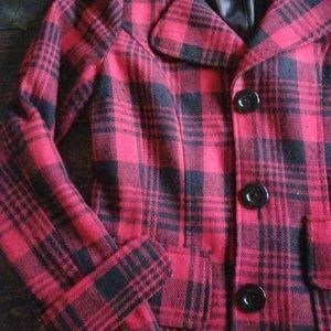 Red and Black Plaid Peacoat